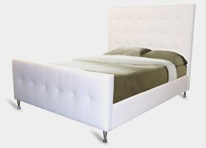 Modern Queen Genuine Leather Bed with buttonless Tufting in an Array of Colours