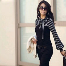Women Blouse Shirt Autumn Fashion Black&white Stripe Bowknot Top Tee Long Sleeve White M