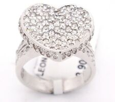 Vintage 14k White Gold SI1/H 2.81CT,Pave Diamonds Concave Heart Signet Ring,7.25