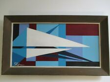 MYSTERY  PAINTING MID CENTURY MODERN CUBIST CUBISM  BLUE GEOMETRIC POP OP 1960'S