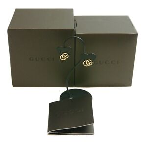 Authentic GUCCI Earrings GG K18 750  Yellow Gold #2581