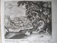 C21-1L Gravure religieuse 17e Ionas à l'ombre d'une plante de courges (Ionas 4)