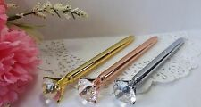 Ballpoint Pen Diamond Crystal Head 3 Pak-Gold Chrome Rose Gold Gift Box Quality