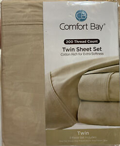 Comfort Bay Twin Sheet Set 200 Thread Count 3 Piece Pretty Tan For Fall
