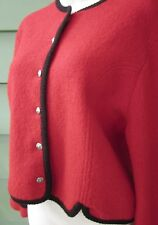 TALLY-HO RED with BLACK TRIM CARDIGAN SWEATER JACKET BOILED WOOL Women's 10