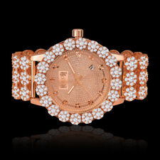 Genuine Diamond Stainless Steel Rose Gold Custom Flower Ice House Watch W/Date