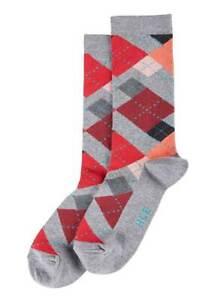 Hue Women 1-Pair Casual Crew Socks 17868 Irregular Argyle Charcoal/Red OS