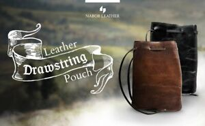 Leather Drawstring Pouch, Coin Bag, Medicine Tobacco Pouch Medieval Reenactment
