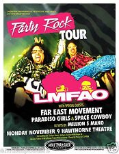 "LMFAO ""PARTY ROCK TOUR"" 2009 CONCERT POSTER - Hip Hop Party Rockers In 'Da House"