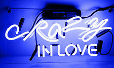 """14""""x6""""CRAZY IN LOVE Neon Sign Light Visual Artwork Beer Bar Room Wall Poster"""
