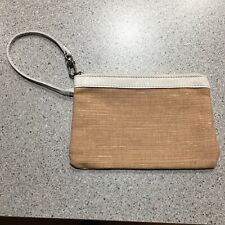 The SAK Natural Jute and Leather Wristlet Clutch Wallet Purse with Zipper