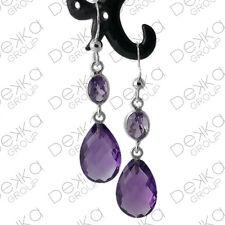 Genuine 925 Sterling Silver Teardrop Earrings Gemstones Amethyst Semi Precious