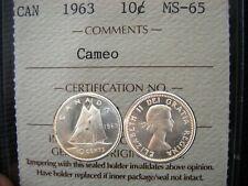 MS65 1963 10 CENTS ALL 3 GRADED MS65 - CAMEO - HEAVY CAMEO - ULTRA HEAVY CAMEO