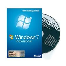 Dell Windows 7 Professional OS SP1 64 bit Full Version DVD & Product key coa