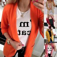 Women Slim Casual Blazer Jacket Top Outwear Career OL Long Coat Cardigan Suit UK