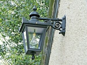 USED Ex-Display Large Black Victorian Wall Mounted Lantern With Black Top Fix