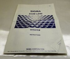 Sigma Manual focus zoom Lens Owner's Instruction Guide Manual English EN 21-35mm