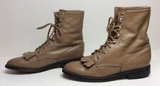 WOMENS UNBRANDED COWBOY LEATHER LIGHT BROWN BOOTS SIZE 7.5 B