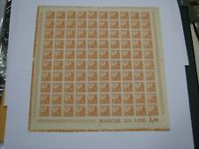 Italy Fiscal Revenue Stamp Sheet of 100 Lira 1.90 Social Security Insurance