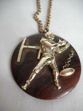 Vintage Wood Metal Football player Pendant Necklace