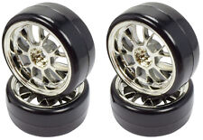 Apex RC Products 1/10 On-Road Chrome Mesh Wheels / Drift Tires #5032