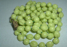 VINTAGE LIME GREEN FLAPPER STYLE BEAD NECKLACE LONG 54""