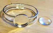 """Silver Plate Sprung Bangle With 25mm 1"""" Inch Setting plus 25mm 1"""" Glass Cabochon"""