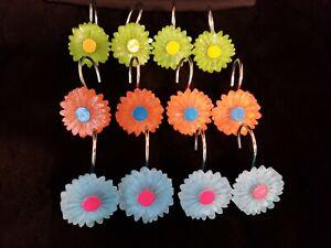 12 Multi Color Sunflower Shower Curtain Hooks Baby Blue, Lime Green, Orange