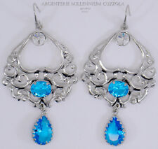 ORECCHINI ACQUAMARINA ZIRCONI ARGENTO MAGNA GRECIA SILVER EARRINGS CZ AQUAMARINE