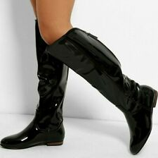 Womens Ladies Black Gold Zip Up Knee Length High Flat Block Low Heel Boots Shoes