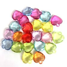 30 x Mixed Colour Heart Charms, Plastic Charms Baby Shower, Dummy Clips