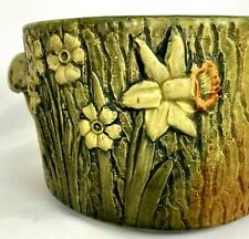 WELLER WOODCRAFT 5 1/4 TOAD STOOL & DAFFODILS  on the SIDE - JARDINIERE c1920s