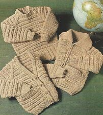 "Easy Knit Chunky Knitting Pattern Jacket Cardigan, Sweater  Girls Boy 22-30"" 793"