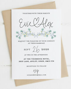 25 Handmade Personalised Wedding Invitations Day/Evening - Floral 2