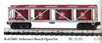 K-LINE ANHEUSER BUSH 675601 VATCAR  & 69005 FLATCAR (2 TRUCKS) 1997 NEW IN BOXES