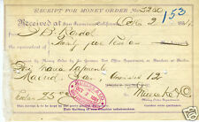 1884 Money Order Receipt San Francisco German Bank PO