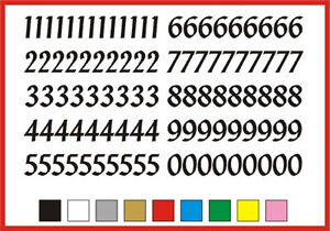 SELF ADHESIVE NUMBERS stickers graphics 0 to 9 Penstyle 15mm high vinyl set