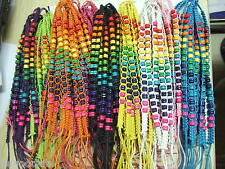 100 Mixed Lots Wooded Beads Hand Braided Fashion Friendship Bracelets Surfer