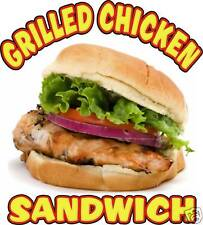 "Grilled Chicken Sandwich Concession Decal 12"" Food Menu"