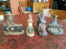 """4 Vintage Tom Clark Cairn Train Gnomes 6"""" X 6"""" Cowboy Conductor Resin Figurines"""