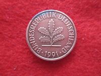 Alemania 2 pfennig 1991 F. Error-parte de moneda sin cubrir de bronze
