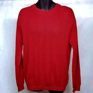 Haggar Sweater Men's Size XL Red Pullover Cable Knit 100% Cotton