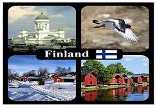 FINLAND - SOUVENIR NOVELTY FRIDGE MAGNET - SIGHTS & FLAG - BRAND NEW / GIFT