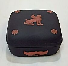 Wedgwood Terra Cotta on Black Jasperware Egyptian Sphinx Square Trinket Box