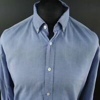HUGO BOSS Mens Oxford Shirt XL Long Sleeve Blue SLIM FIT No Pattern Cotton