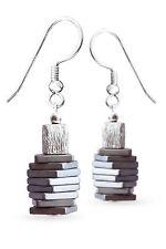925 Silber Ohrringe mit Hämatin (Hämatit rekonstruiert) & 925er Silber, Ohrhaken