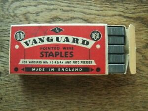 Vintage Vanguard Pointed Wire Staples - Complete 1000 in Box - Made in England