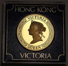 1984 Hong Kong Gold Plated Proof Medal Queen Victoria in Perspex Case - FDC