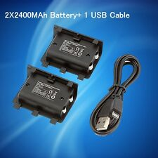 2 x 2400mAh Rechargeable Battery Pack + USB Cable For Xbox One Play And Charger