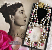 VINTAGE 1950s PINK AURORA GLASS PEARL BEADS TRIPLE STRAND NECKLACE ROCKABILLY